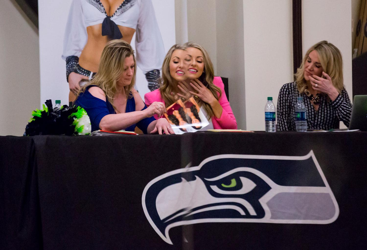 It's that time of year again! Saturday April 21 was Day 1 of the Sea Gals Semi-Final Auditions for the Seahawks 2018/2019 season. The auditions were open to anyone 19 years and older, who had obtained a high school degree. Each contestant has to dance freestyle for one minute to music provided by the Hawks, ?and were judged on dance ability, physical appearance and showmanship. Those invited back will be taught a routine, and the finals are May 13, 2018. Don't worry - we'll be there too! (Sy Bean / Seattle Refined)