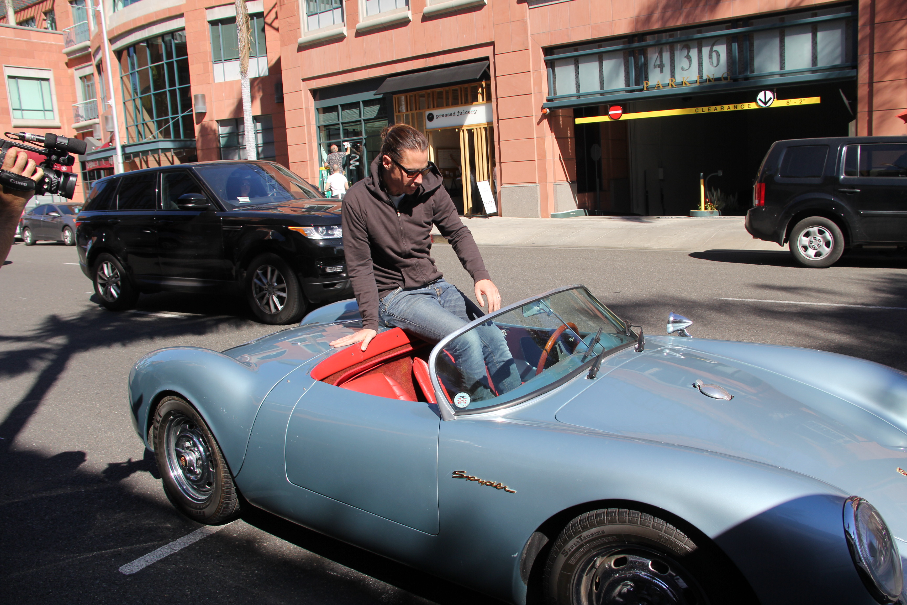Chris Cornell jumps into his vintage 1955 Porsche Speedster Spyder, the same model James Dean drove  Featuring: Chris Cornell Where: Beverly Hills, California, United States When: 10 Feb 2016 Credit: WENN.com