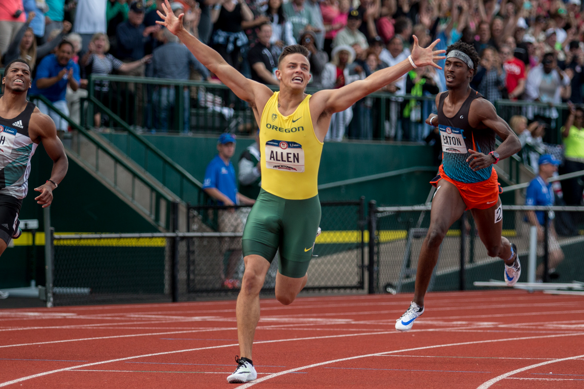 Oregon's Devon Allen celebrates after winning the 110m hurdles in a personal best time of 13.03 seconds. Photo by Dillon Vibes