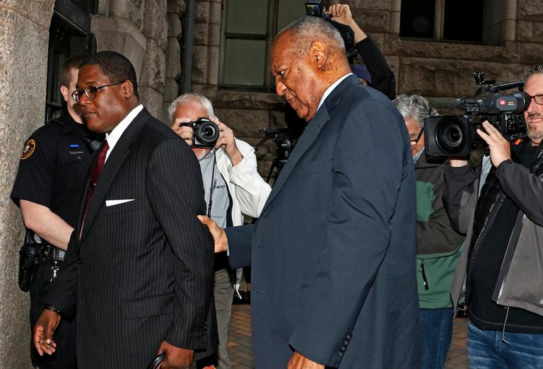 Bill Cosby, center, arrives for the third day of jury selection in his sexual assault case at the Allegheny County Courthouse, Wednesday, May 24, 2017, in Pittsburgh. The case is set for trial June 5 in suburban Philadelphia. (AP Photo/Gene J. Puskar)