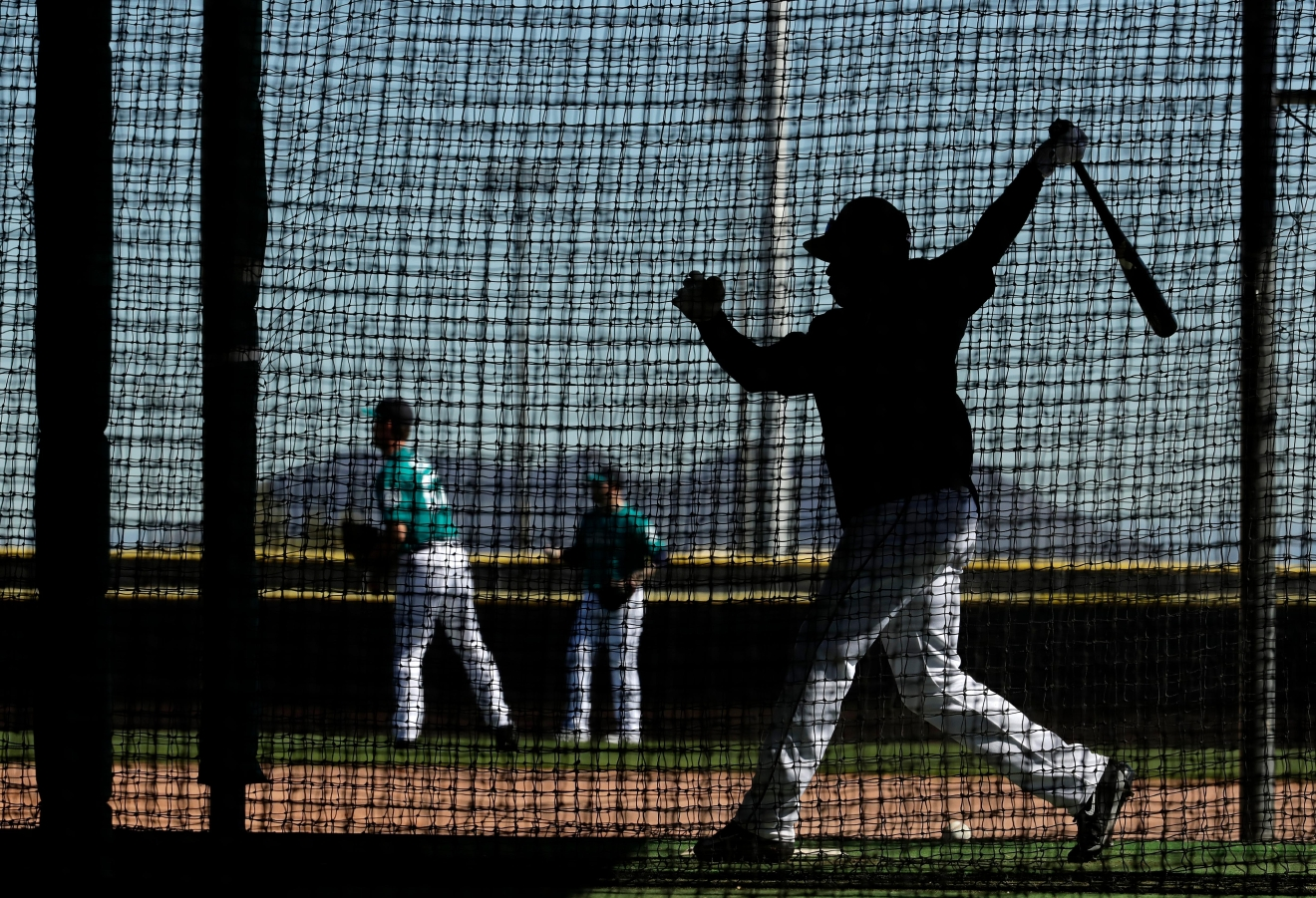 Seattle Mariners' Guillermo Heredia practices in a batting cage during spring training baseball practice, Tuesday, Feb. 21, 2017, in Peoria, Ariz. (AP Photo/Charlie Riedel)