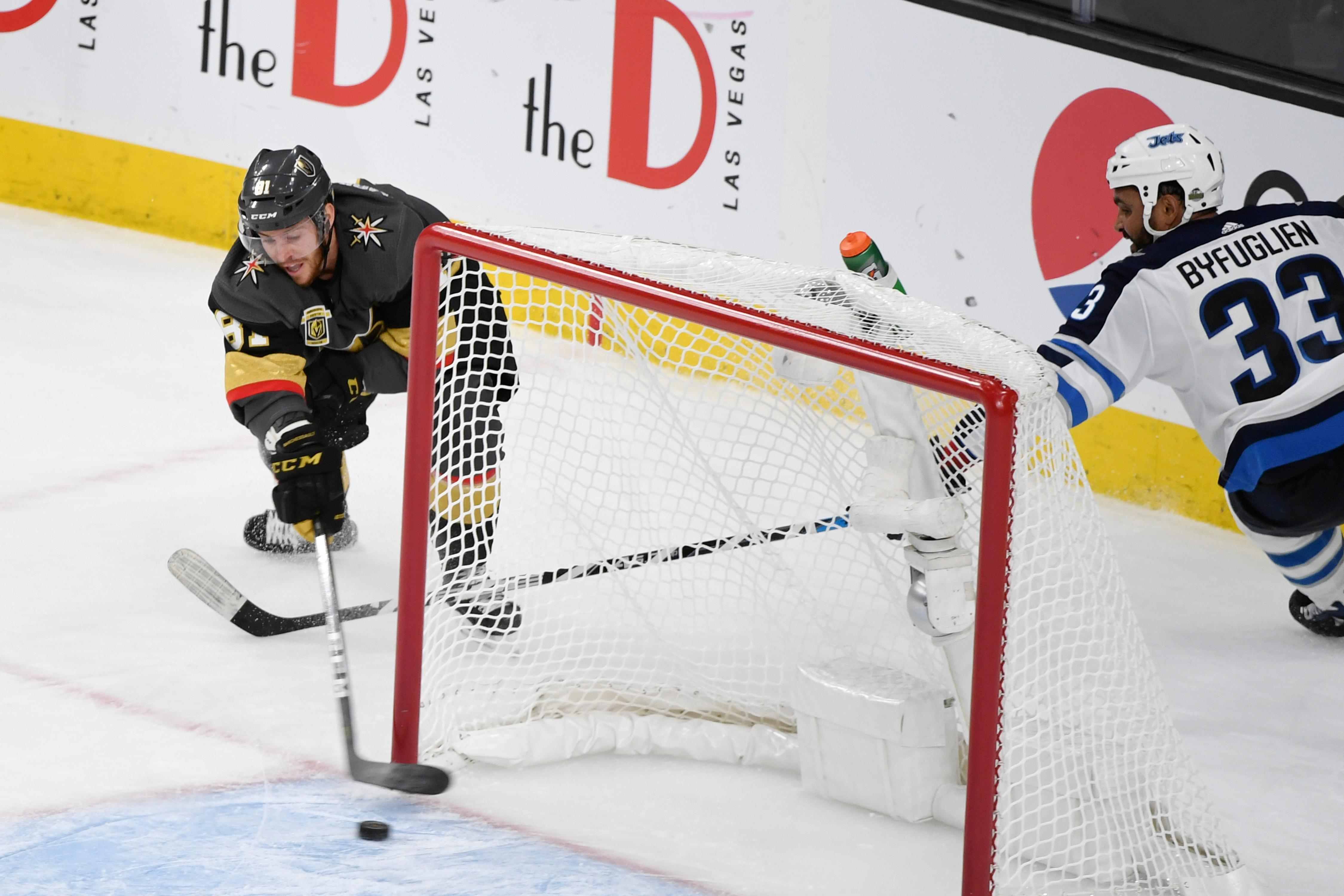 Vegas Golden Knights center Jonathan Marchessault (81) scores an empty net goal against the Winnipeg Jets during Game 3 of their NHL hockey Western Conference Final game Wednesday, May 16, 2018, at T-Mobile Arena. The Golden Knights won 4-2 to take a 2-1 lead in the series. CREDIT: Sam Morris/Las Vegas News Bureau