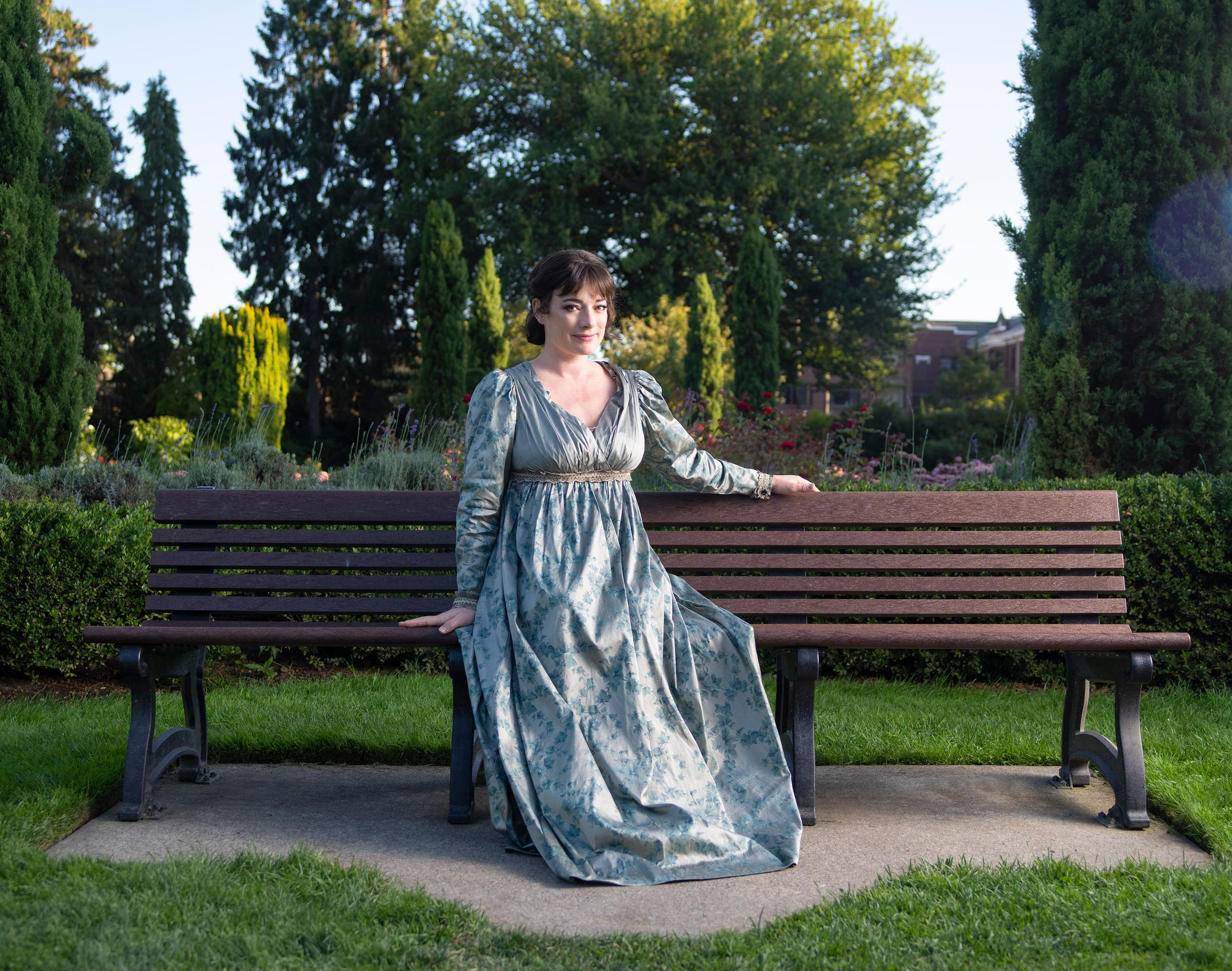 Laura Michelle Kelly as Jane Austen in 'Austen's Pride' at The 5th Avenue Theatre (Photo Credit: Mark Kitaoka)