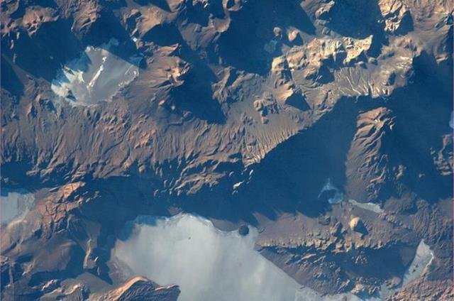Andes Mtns. Looks like a pretty harsh landscape from up here.(Photo & Caption: Mike Hopkins, NASA)