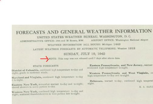 Note from U.S .Weather Bureau noting that the map was released 7 days after the issued date.{ }