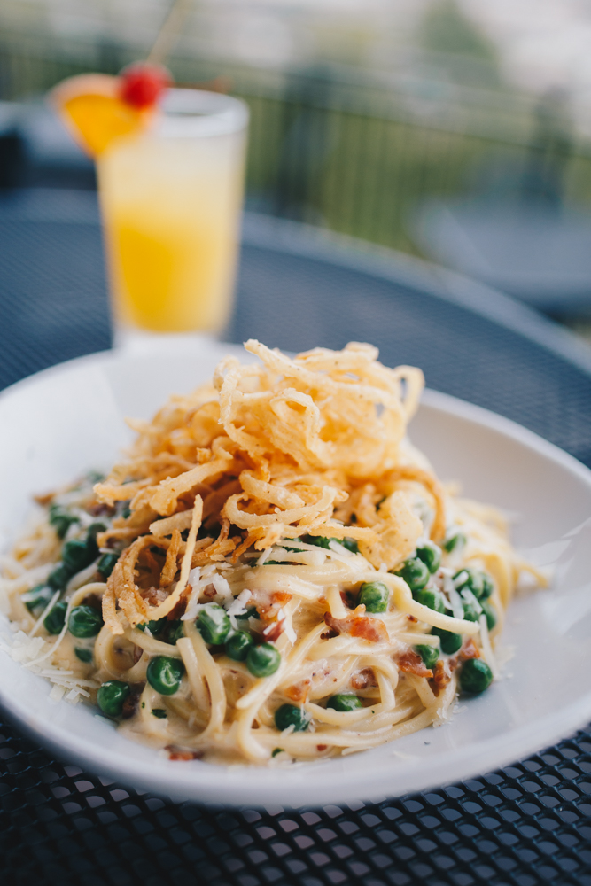 Linguine carbonara served with the Whistle Tip{ }cocktail / Image: Catherine Viox // Published: 10.17.18