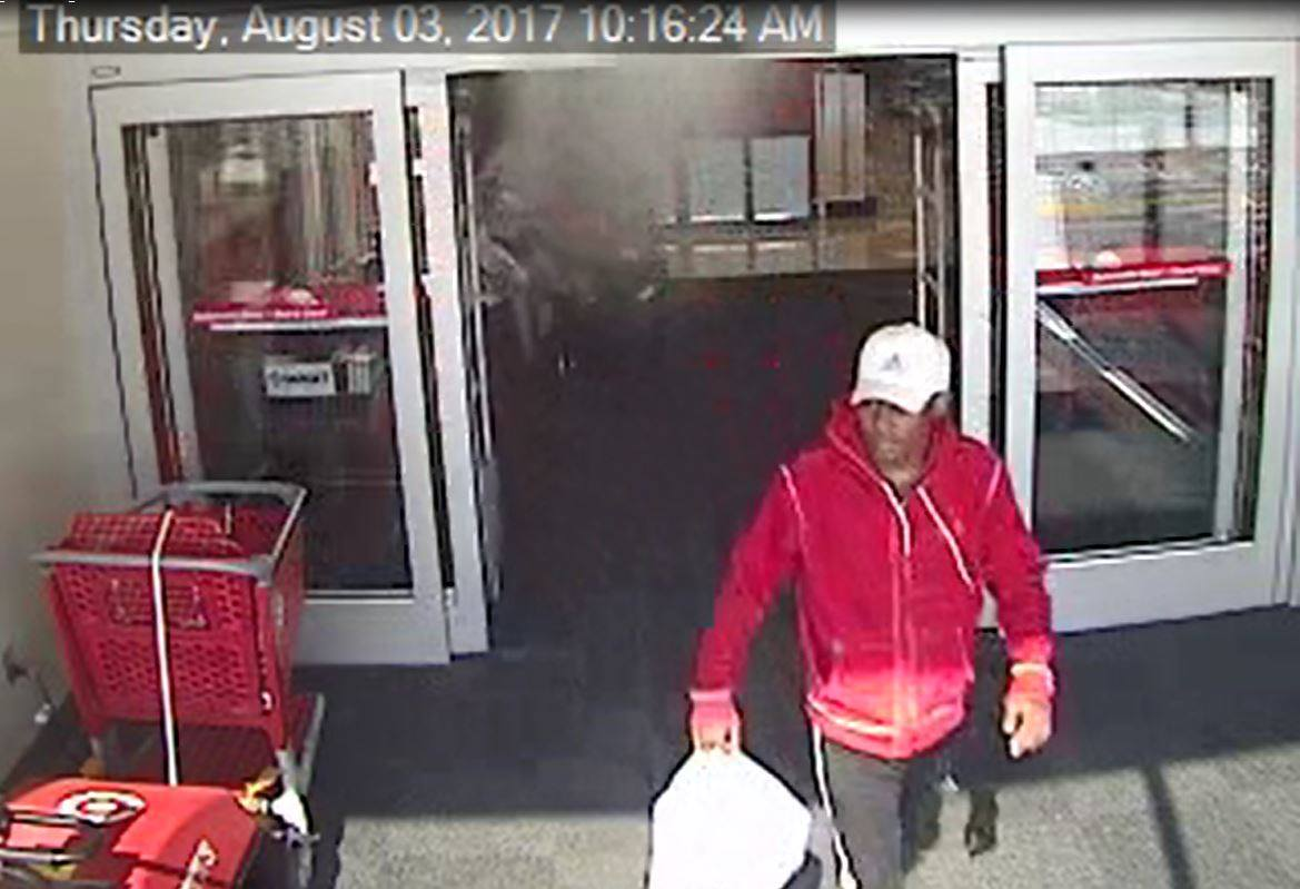 Surveillance video shows a man believed to be connected to an armed robbery August 3 at an Oklahoma City business. (Oklahoma City Police Department)