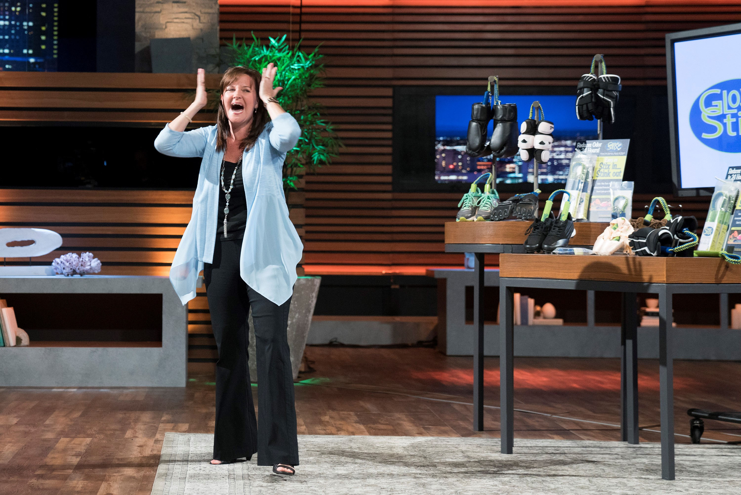 "Despite friends and family encouraging her from the beginning to try out for ""Shark Tank,"" Woods resisted out of fear. But once she confronted the basis for her fear, she knew she had to go for it or she'd regret it forever. She never could have imagined walking away with a $150,000 business deal with two investors, including former MLB All Star, Alex Rodriguez. (Image: ABC/Michael Desmond)<p></p>"