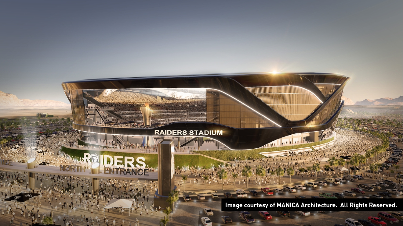 Illustrations of a 65,000-seat stadium that could lure the Oakland Raiders to Las Vegas. (Pictures courtesy of MANICA Architecture)