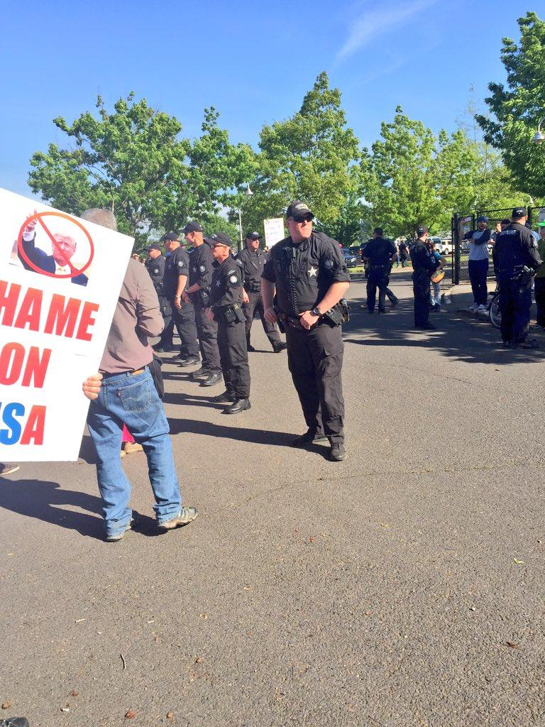 Protesters took to the streets as GOP candidate Donald Trump held a rally in Eugene, Ore., May 6, 2016. (SBG photo)