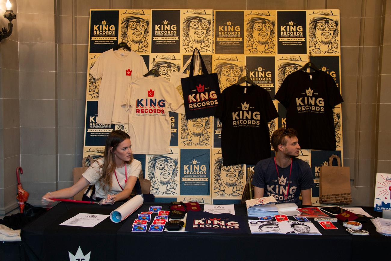 To celebrate the 75th anniversary of Cincinnati's iconic record label, King Records, a party was held at Memorial Hall in Over-the-Rhine on Saturday, August 25. It featured a gala with performances by local musicians as well as an afterparty and appearances by former King Records artists. The record label was founded in 1943 and grew to become one of the largest labels in the country before closing in 1975. It's responsible for launching the career of James Brown, their best-known artist. King is lauded for the diversity of its musician roster. / Image: Dr. Richard Sanders // Published: 8.26.18