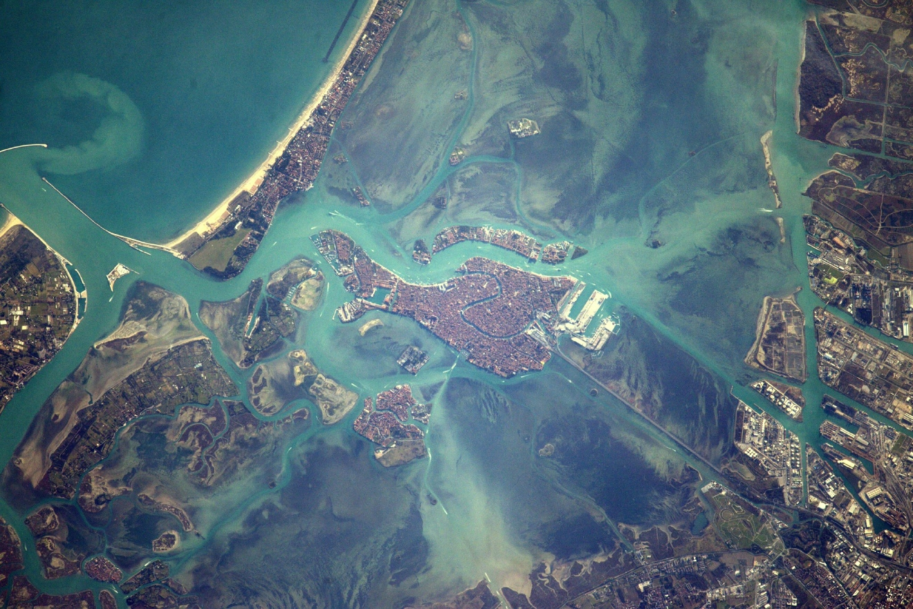 Venice, city of gondoliers and the lovers they carry along the canals (Photo & Caption: Thomas Pesquet // NASA)