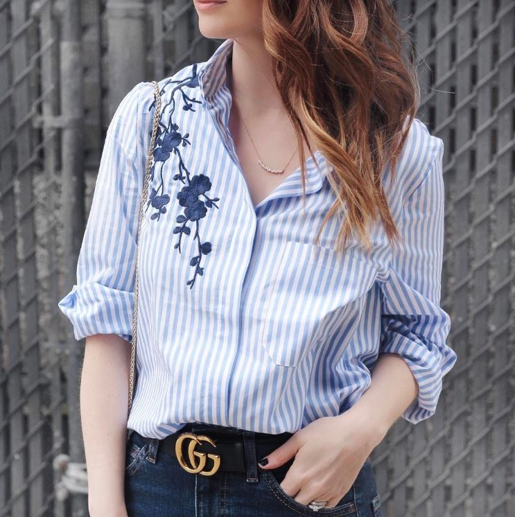 IMAGE: IG user @allycog / POST: The embroidery on this shirt is such a fun update to the classic button down. Perfect for work or with cutoff shorts on the weekend...and only $20!