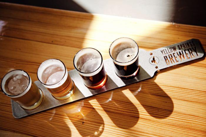 Hankering for a flight? Head to Yellow Springs Brewery. [Image courtesy of Yellow Springs Chamber]